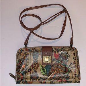 SAKROOTS Large clutch wallet/crossbody bag ~Owls~